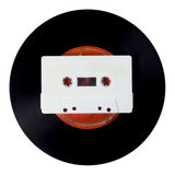 Vinyl record and cassette . Royalty Free Stock Photography