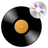 Vinyl record and CD Royalty Free Stock Photo