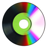 Vinyl record and Cd. Image of compact disc overlapping a vinyl record stock photo