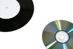 Vinyl record and CD (close) stock photo