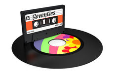 Vinyl record and compact cassette Stock Photography