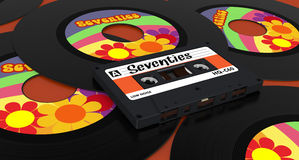 Vinyl record and compact cassette Stock Images