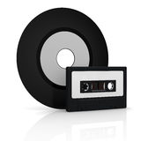 Vinyl record and compact cassette Royalty Free Stock Image