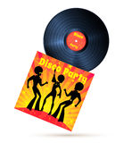 Vinyl record and cover. With disco party illustration Stock Photography