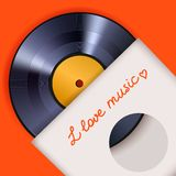 Vinyl record with cover poster Royalty Free Stock Images