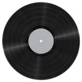 Vinyl record cutout. Long play vinyl record with blank paper label isolated on white. Photorealistic raster illustration. Clipping path included Stock Image