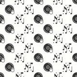 Vinyl record disco dance nightlife seamless pattern. DJ disk jockey turntable icon. Party celebration decor elements Stock Images