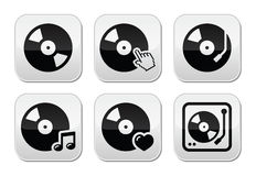 Vinyl record, dj  buttons set Stock Photo