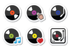 Vinyl record, DJ  icons set Stock Photo