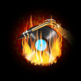 Vinyl record on fire and saxophone. Vector illustration of a vinyl record on fire and saxophone on a background of musical notes on a dark background can be Royalty Free Stock Images