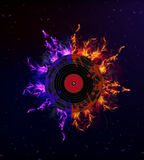 Vinyl record in the fire. Vinyl record on fire, vector art illustration Royalty Free Stock Photos