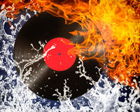 Vinyl record. With fire and water royalty free stock images