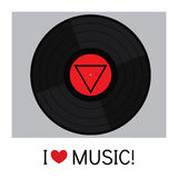 Vinyl record in a flat style. Vector illustration for a card or poster, print on clothes. Stock Image