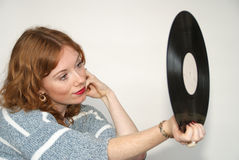 Vinyl record Girl Royalty Free Stock Image