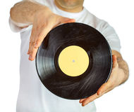 Vinyl record in hands Royalty Free Stock Images