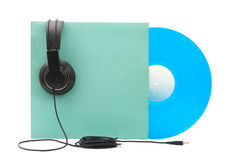 Vinyl Record with Headphones. On white background Stock Image