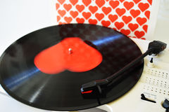 Vinyl record with heart  on the white background for Valentines day Royalty Free Stock Photos