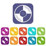 Vinyl record icons set flat Stock Photos