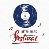 Vinyl record and lettering retro music festival, vintage label, poster typography design Hand drawn sketch, grunge textured retro Royalty Free Stock Photography