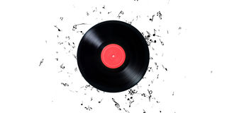 Vinyl record with a lot of notes. Vinyl record playing music Stock Photography