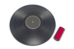 Vinyl record lp album disc with cleaner Royalty Free Stock Photography