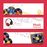 Vinyl record music banners Stock Photography
