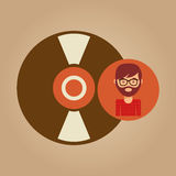 Vinyl record music man hipster Royalty Free Stock Image