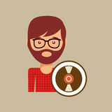 Vinyl record music man hipster. Vector illustration eps 10 Stock Photography