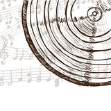 Vinyl record and music notes. Illustration of vinyl record or compact disc and music notes - hand drawn style Royalty Free Stock Photo