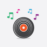 Vinyl Record Music Notes. Vinyl record icon with music notes Royalty Free Stock Photography