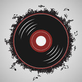 Vinyl record music notes - İllustration vector Stock Photo