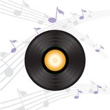 Vinyl record with orange label Royalty Free Stock Photo