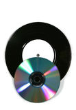 Vinyl record and overlapping CD stock photography