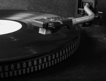 Vinyl on the record player. Black vinyl on the record player. CloseUp Royalty Free Stock Photography
