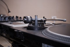 Vinyl record player for DJ. Turntable playing analog music records stock images