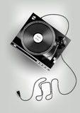 Vinyl record player on grey background, advertisement, Vector Stock Photo