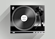 Vinyl record player on grey background and long shadow, Vector Stock Images