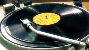 Vinyl record player, spinning. This is footage of vinyl record player, spinning stock video