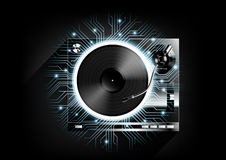 Vinyl record player turntable on black background and long shadow with technology concept, Vector Stock Photography