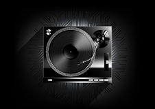 Vinyl record player turntable on black background and long shadow with technology concept, Vector Stock Images