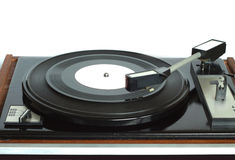 Vinyl record player in wooden case front view isolated Royalty Free Stock Photography