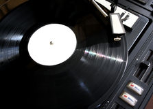 Vinyl record on players. Old black vinyl record on players Royalty Free Stock Image