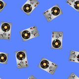 Vinyl Record Players Seamless Pattern Stock Images