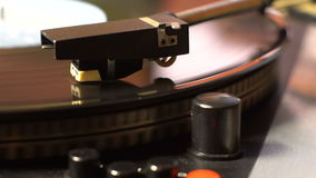 Vinyl record on the pleer. Plays a song from an old turntable. stock video footage