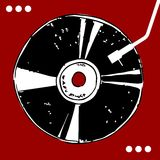 Vinyl record on red background. Vinyl disc on red background with white dots. Retro style. Vector available Stock Images