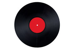 Vinyl Record Red Label Stock Photo