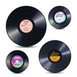 Vinyl Record Set Isolated On White. Realistic Disc Mock Up. Rerto Template. Vector Illustration Stock Photo