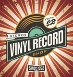 Vinyl record shop retro sign design. Promotional poster idea for music record store. Vintage music vector ad template royalty free illustration