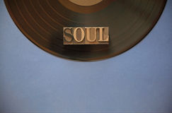 Vinyl record with soul word Stock Image