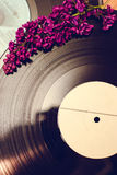Vinyl record and spring flowers. Old fashioned backgound of vinyl record and spring flowers Stock Photography
